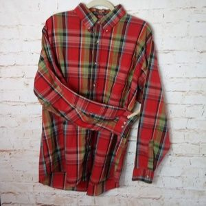 "AM PM Plaid Red Button Up Shirt L 16-16.5"" Collar"